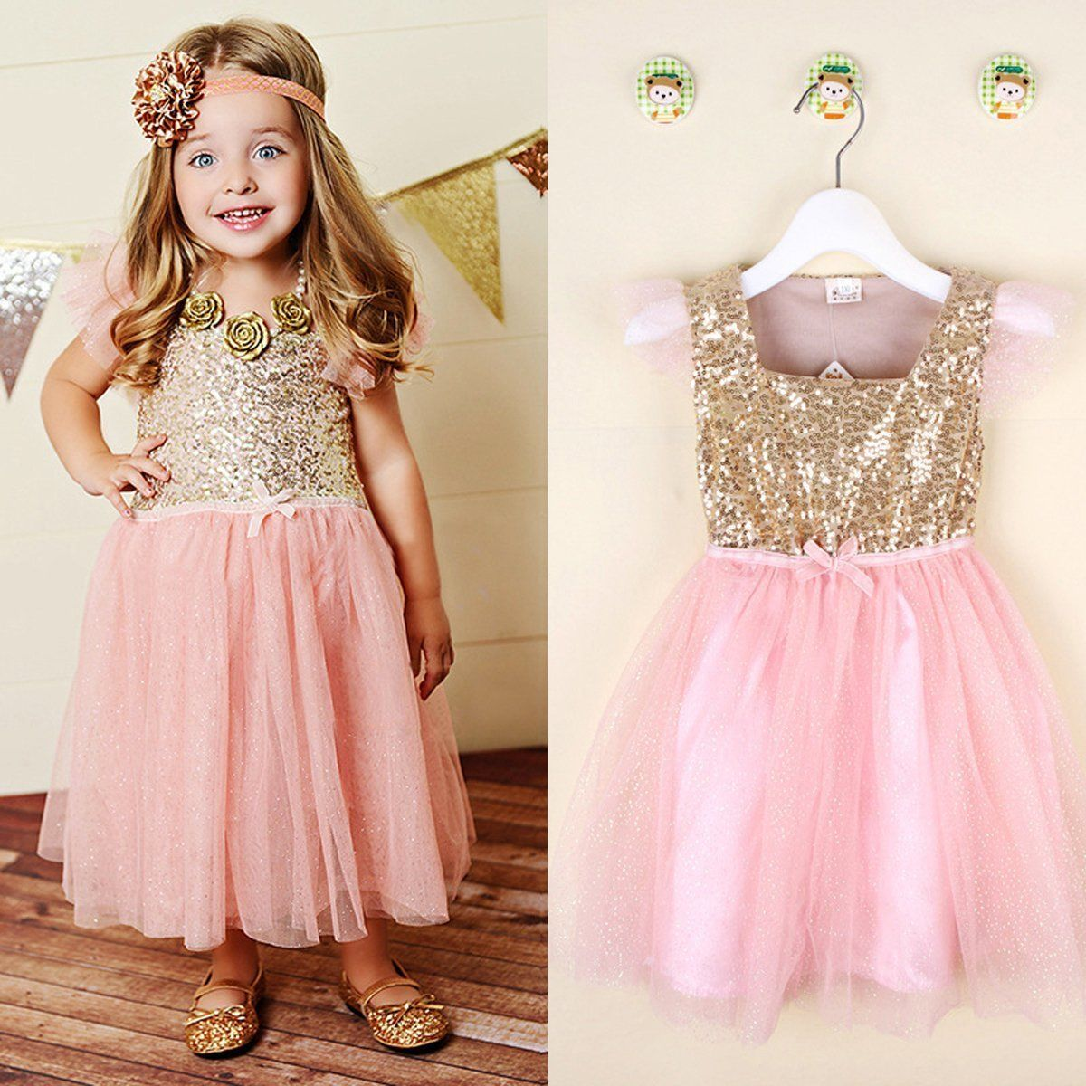 Flower Girl Princess Dress Toddler Baby Wedding Fancy Sequins Party ...