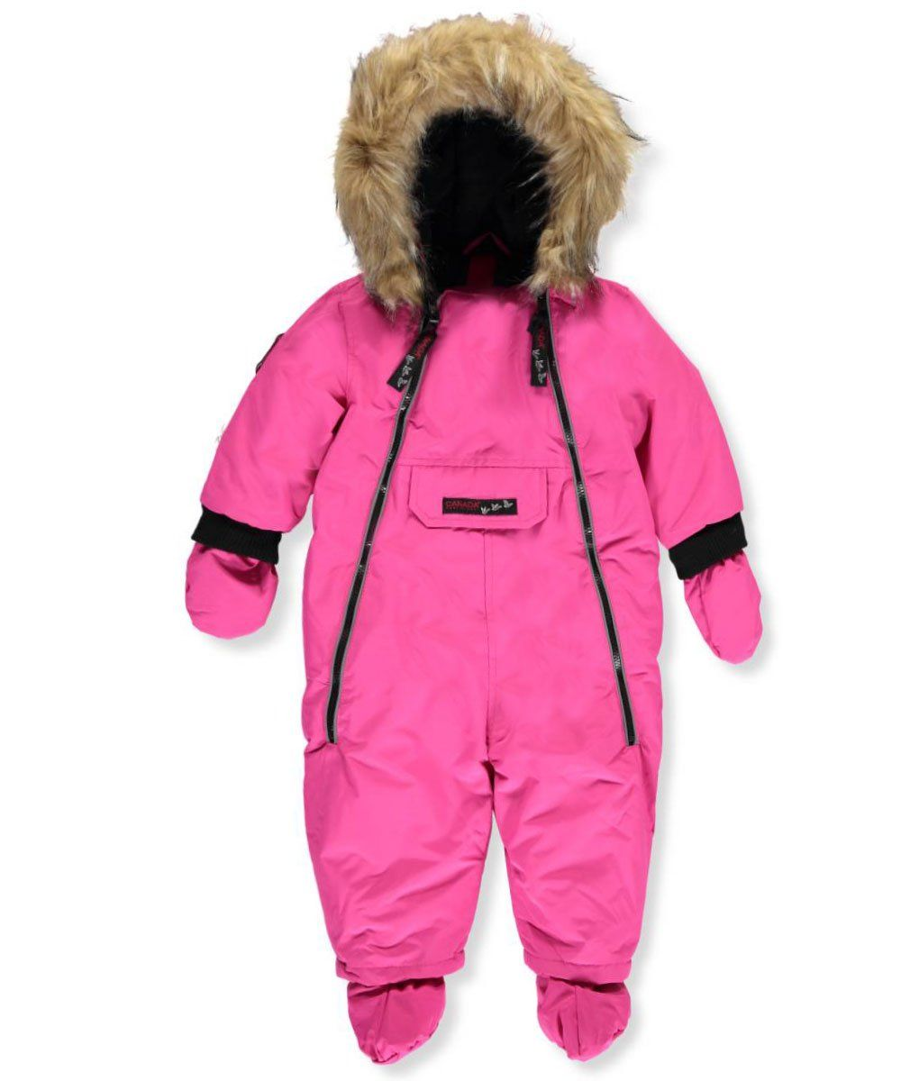 Canada Weather Gear Baby Girls 1 Piece Snowsuit Fuchsia 6 9 Months Canada Weather Gear 1 Piece Snowsuit Weather Resistant A Snow Suit Fuchsia Snow Wear