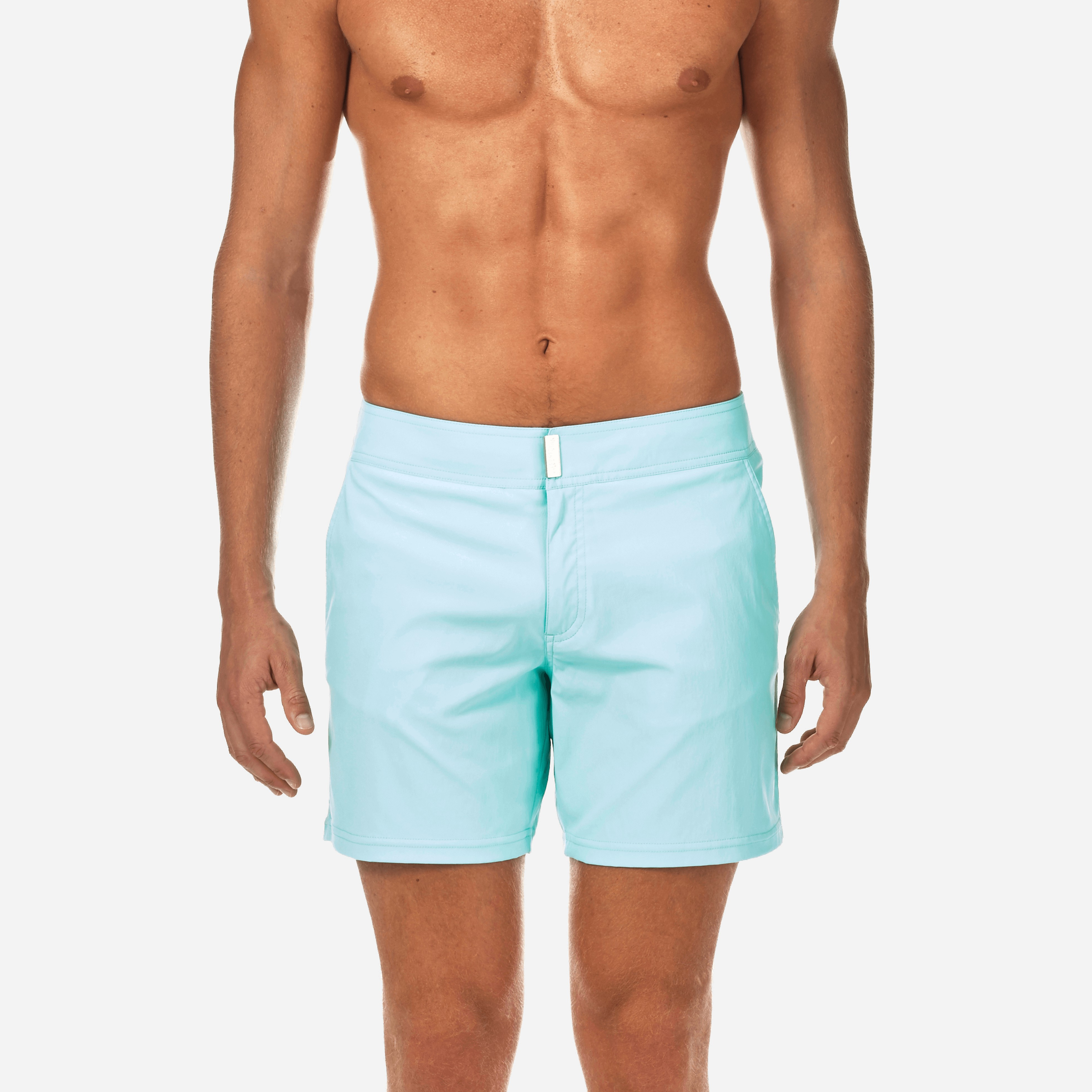 59a66dff9398b Vilebrequin Men Short And Fitted Stretch Swimwear Solid, Style: Merise -  Lagoon Xxxl Blue