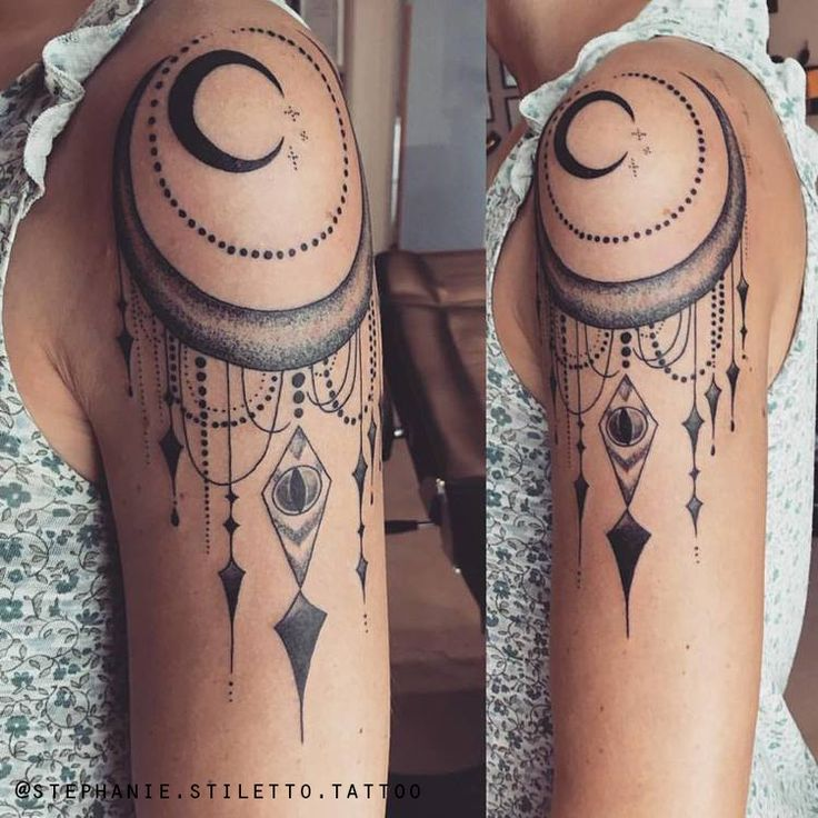Meaningful Tattoos - stephanie stiletto tattoo moon blackwork linework stippling dotwork shoulder hal #tattoosandbodyart