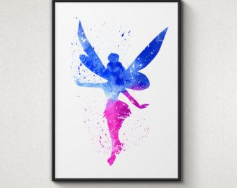 Tinkerbell Peter Pan Disney Alternative Poster Watercolor