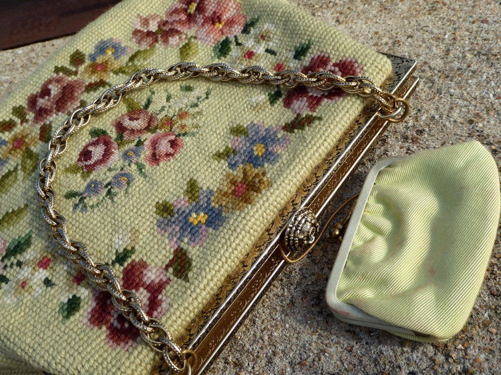 Vintage Needlepoint Petit Point Floral Purse, Quality Green Needlepoint & Petit Point Floral Bag and Coin Purse by MyFrenchTexas on Etsy