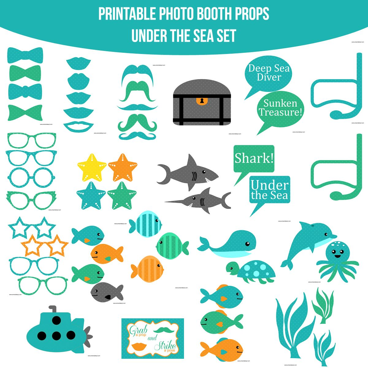 Instant Download Under The Sea Printable Photo Booth Prop