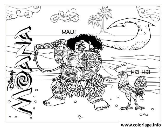 Coloriage Maui Et Hei Hei Dessin à Imprimer Moana Coloring Pgs