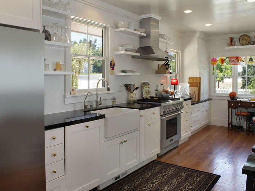 One Wall Kitchen With White Shaker Cabinets Farmhouse Sink Hardwood Floors And Arabi Kitchen Designs Layout One Wall Kitchen Farmhouse Style Kitchen Cabinets
