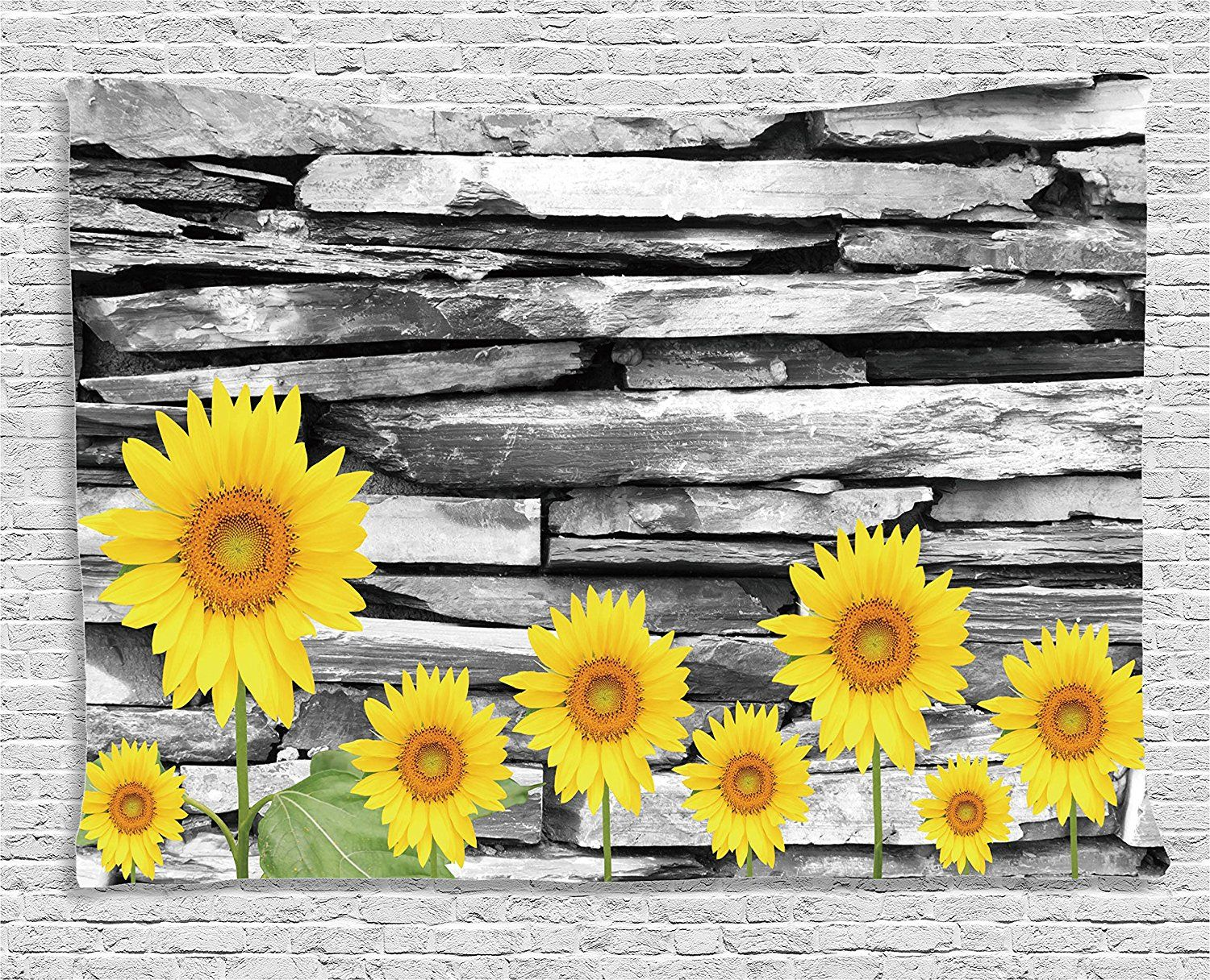Rustic Home Decor Tapestry by Ambesonne, Sunflowers with Leafs on ...