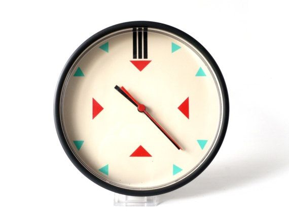 Vintage Wall Clock Neon Green Triangle Turquoise Red Trashy Kitsch 90s Kitchen Office Geometric