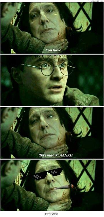Snape Is A Desi Thug Desi Memes Harry Potter Snape