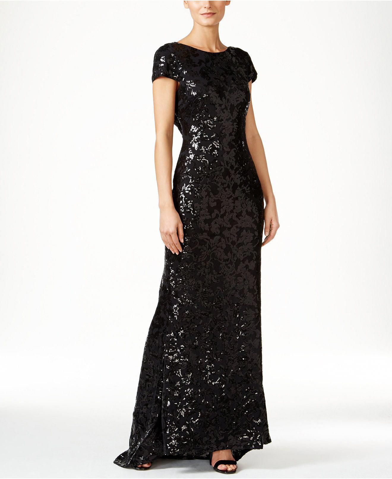 9bd019b9910c Calvin Klein Sequined Cap-Sleeve Gown - Dresses - Women - Macy s  209.00   Cluboutfitsforwomen