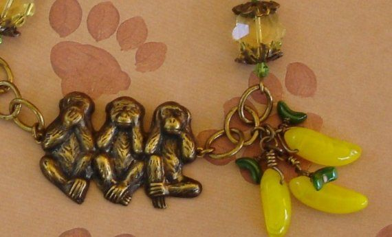 Patina Brass Swarovski Crystal Charm Bracelet Monkey by kcdwyer