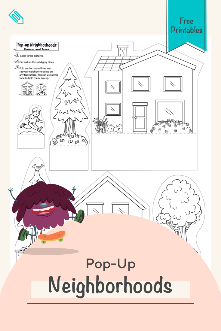 Pop Up Neighborhoods Houses And Trees Worksheet Education Com Color Worksheets Diy Activities Diy Arts And Crafts [ 1102 x 735 Pixel ]