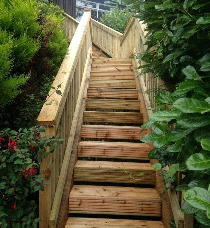 escalier exterieur rustique