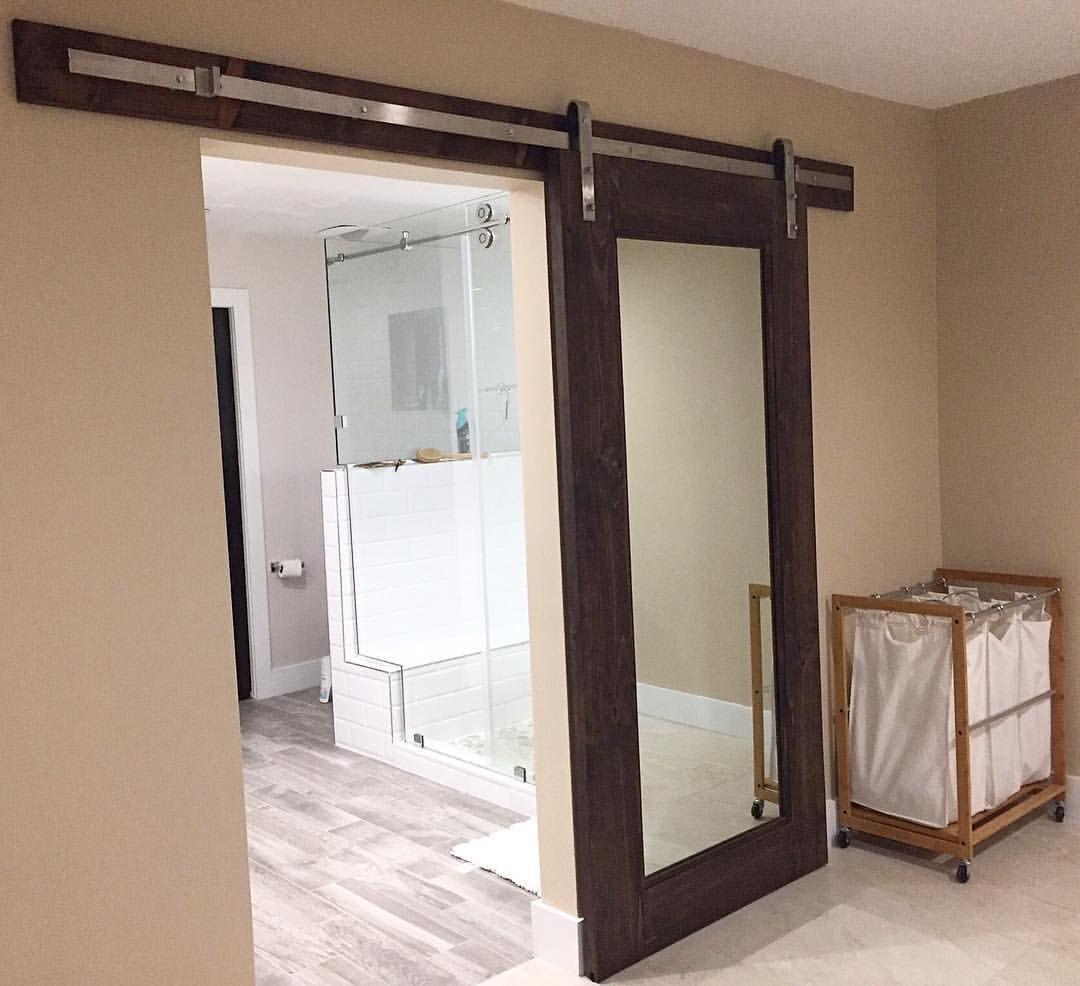 Barn Door With A Built Full Length Mirror Interior Barn Doors