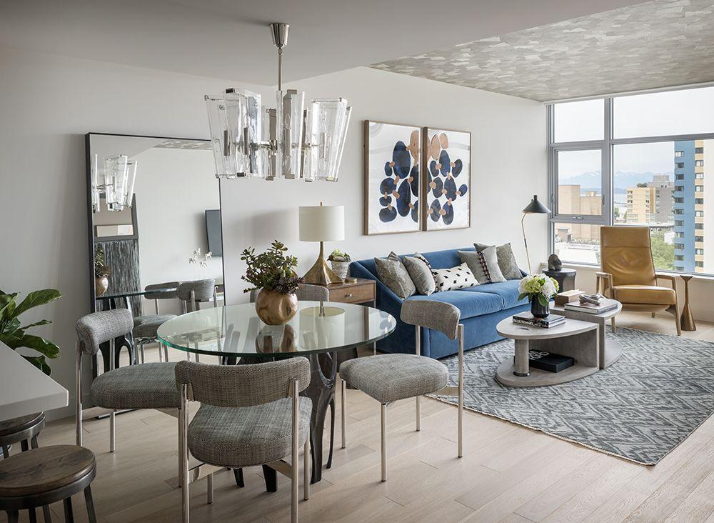 Handsome High Rise Condo Living Room Condo Interior Design