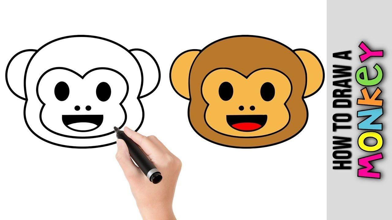How To Draw A Cute Monkey Face Emoji Emoticon Easy