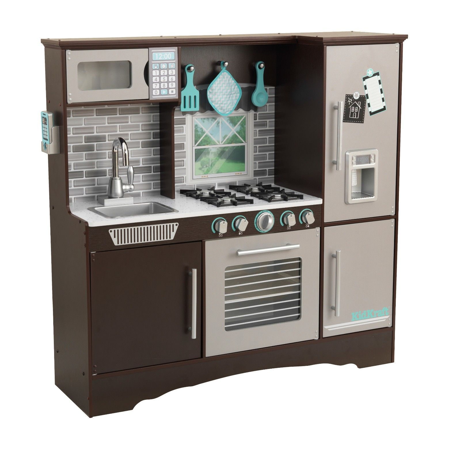 KidKraft Uptown Espresso Kitchen with 30 Piece Play Food W ...