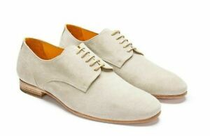 Mens Oxford Beige Suede Leather Derby Toe Matching Sole Handmade Laceup Shoes