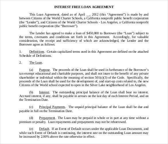 Free Interest Free Loan Contract Temp , 26+ Great Loan Agreement - contract agreement template