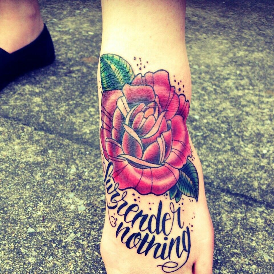 Foot tattoo Neo traditional rose Script/ lyrics