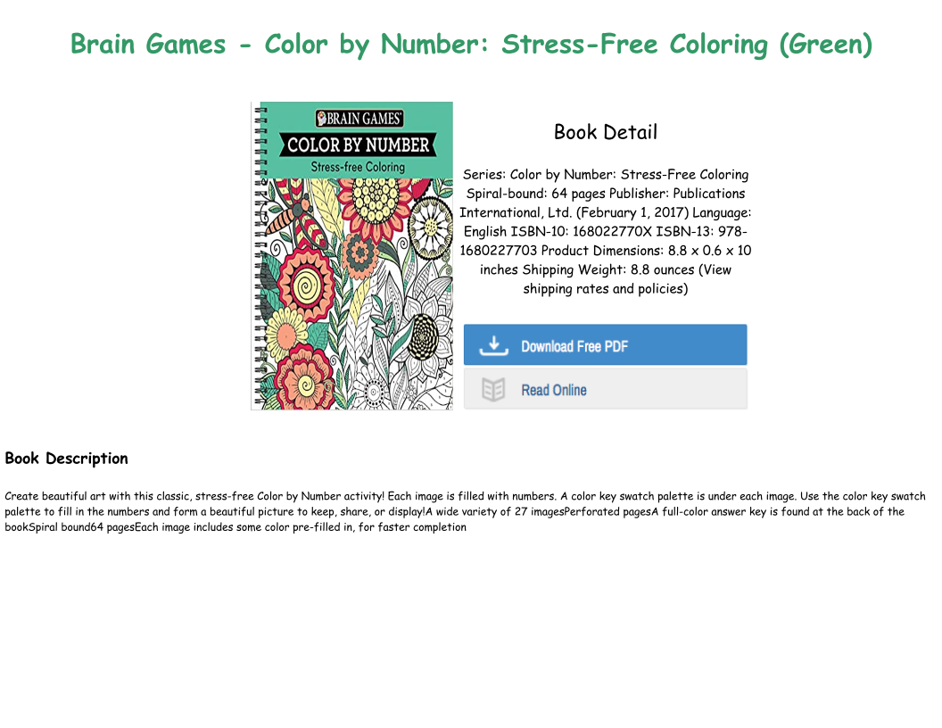 [P.D.F Download] Brain Games Color by Number Stress