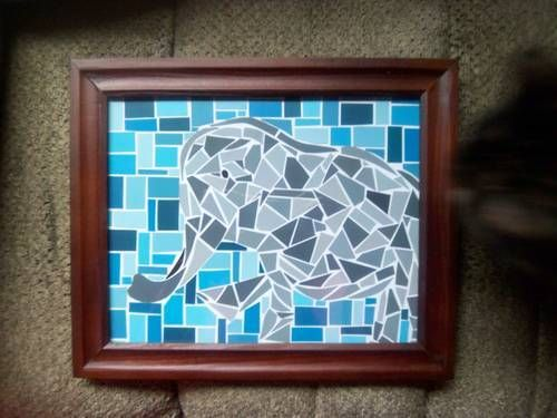 Paint Sample Elephant Mosaic  Paper Crafts Scrapbooking  Atcs