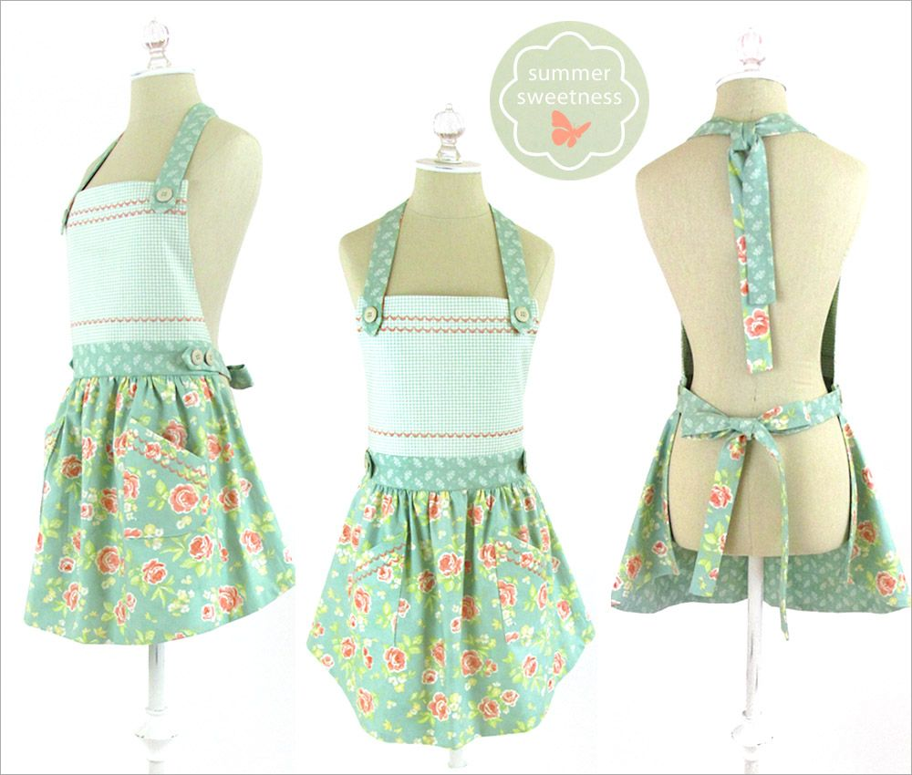 Floral Apron with Curved Skirt and Button Accents | Sew4Home ...