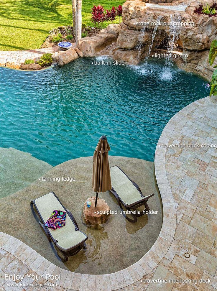 Houston pool designs gallery by blue science baja shelf for Pool design with tanning ledge