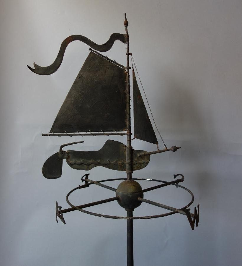Vintage Tower Of Winds Weathervane: Early New England Sail Boat Weathervane On