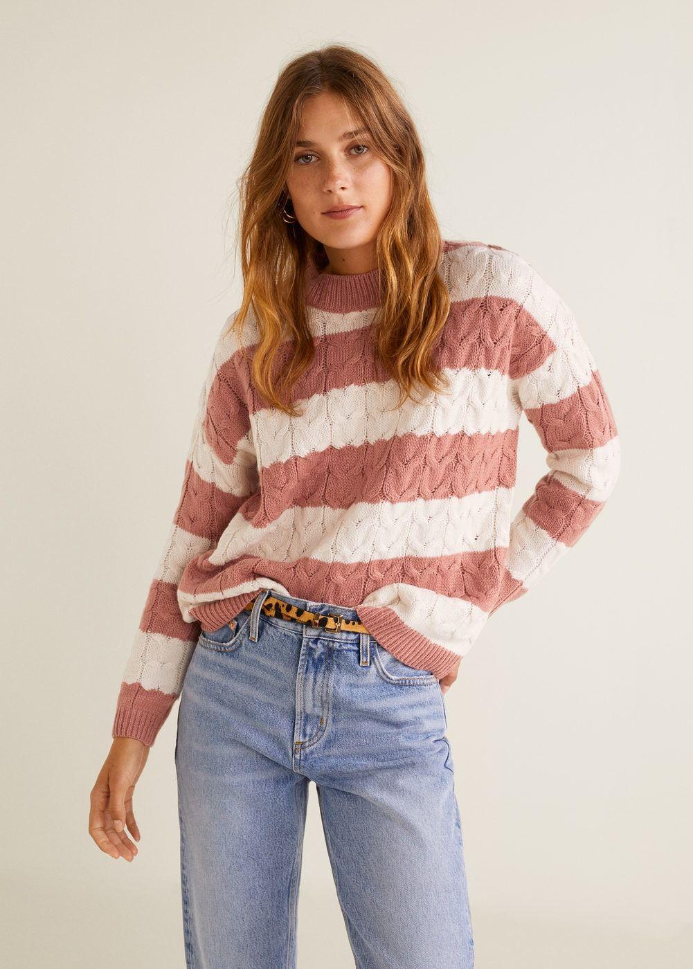 1c29a1829 Camisola de malha às riscas - Cardigãs e camisolas de Mulher