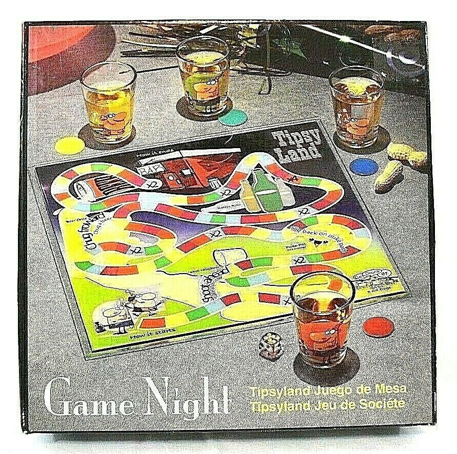 Details About Game Night Tipsy Land Glass Board W 4 Shot Glasses