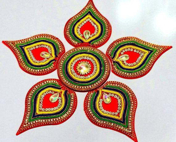 Rangoli kundan rangoli diwali acrylic rangoli flower for Floor rangoli design