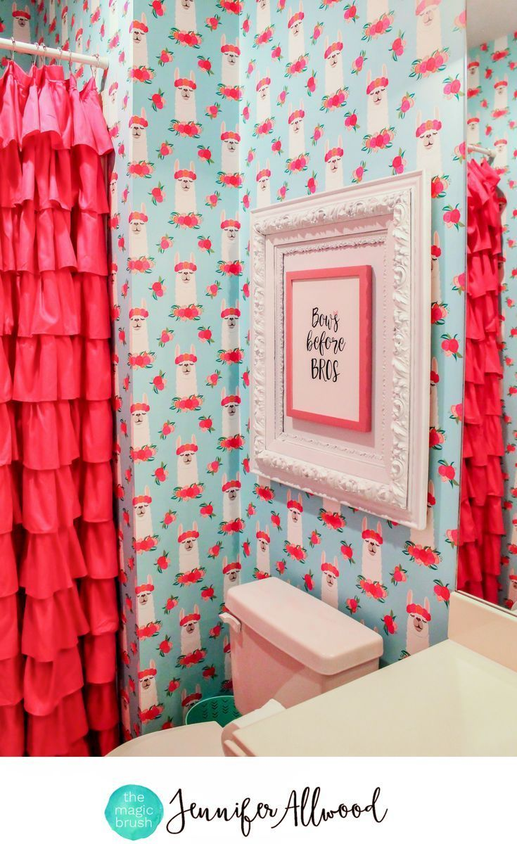 Love this girlie bathroom by Jennifer Allwood!!! | Girls Curtain Ideas | Ruffle Pink Shower Curtain Curtain | Girls Window Treatments | Llama Decor | Girls Bathroom Decorating Ideas | Kids Bathroom | Tween Bathroom #wallpaper | How to Sew a Long Shower Cu