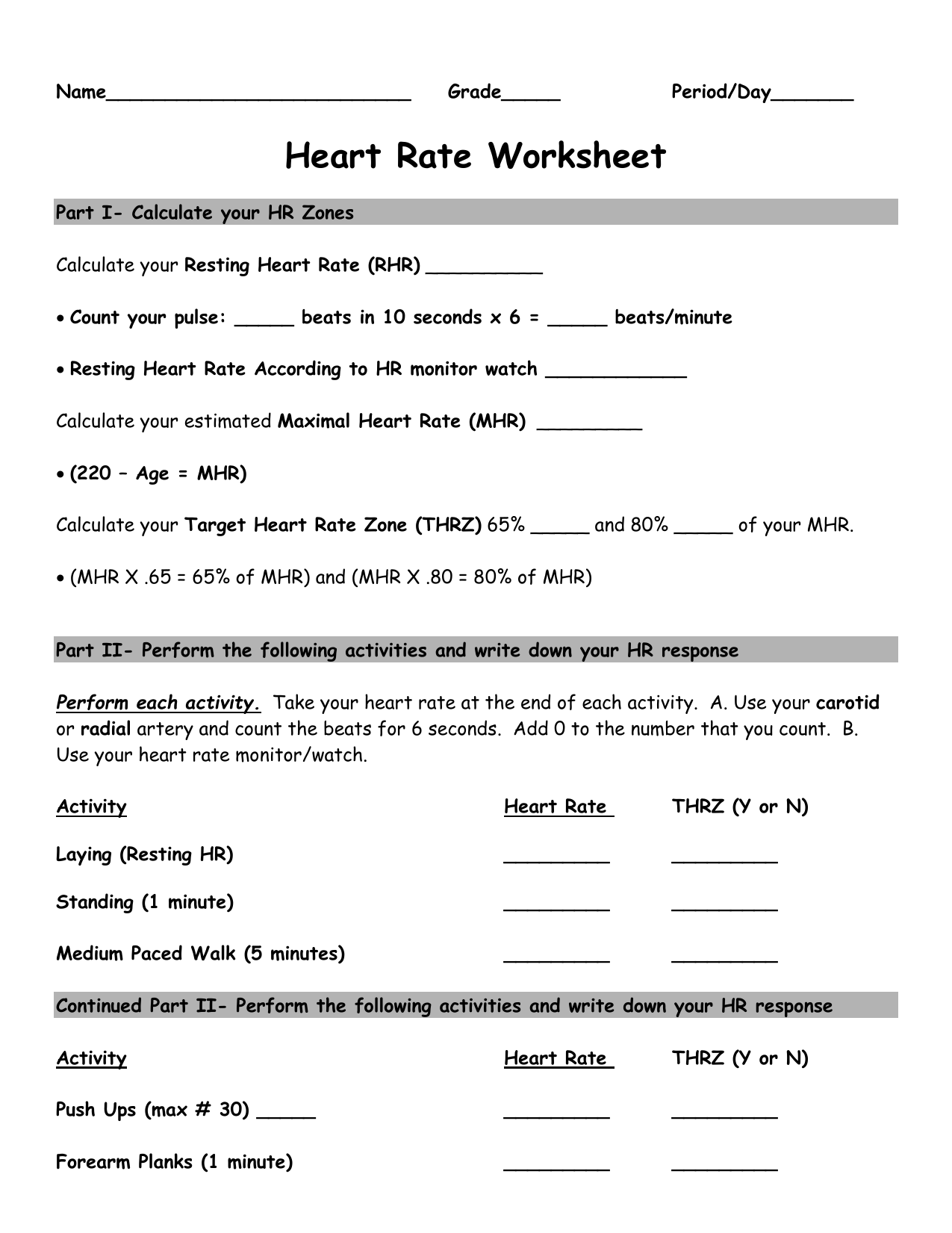 hight resolution of Heart Rate Activity Worksheet - Belle Vernon Area School District    Physical education lessons