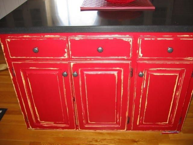 Red Distressed Kitchen Cabinets Photos