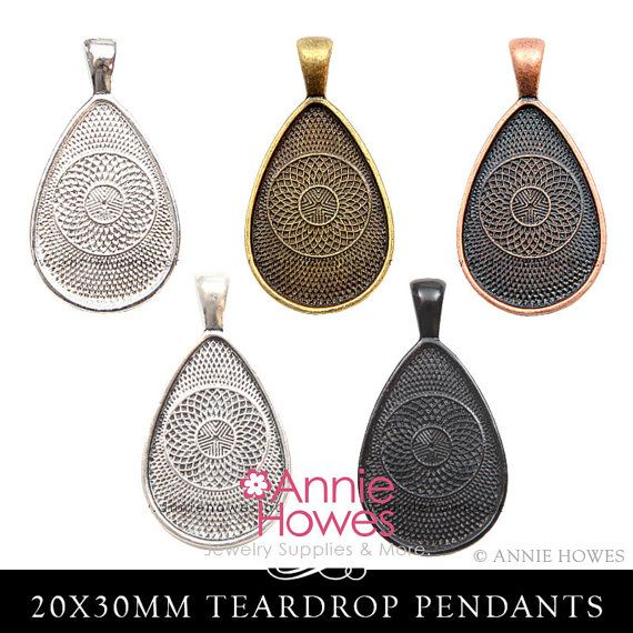 Pendant trays teardrop bezel cabochon cameo mounting settings trays 22x30 cabochon cameo teardrop pendant tray settings from annie howes aloadofball Gallery