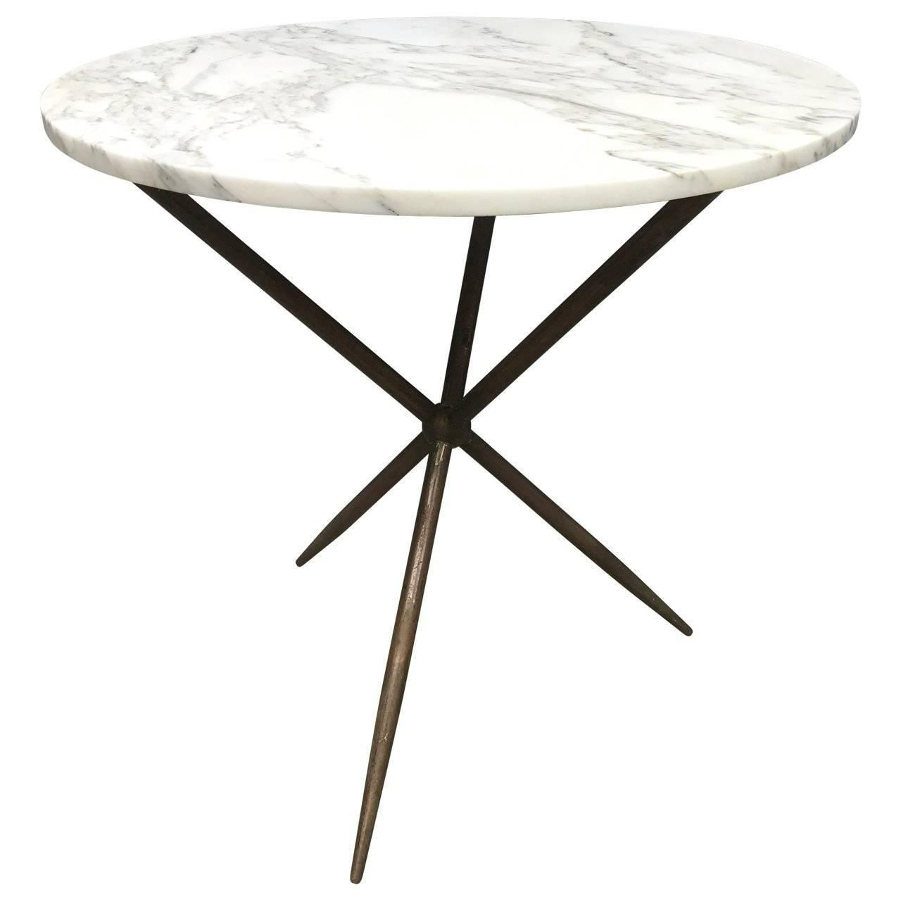 Round Bronze And Marble Top Cafe Table Cafe Tables Marble Table