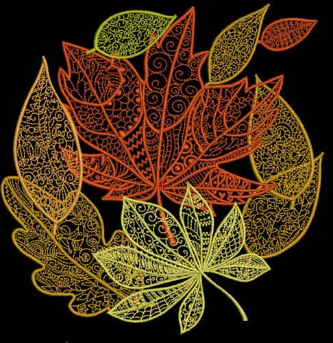 Autumn leaves machine embroidery design