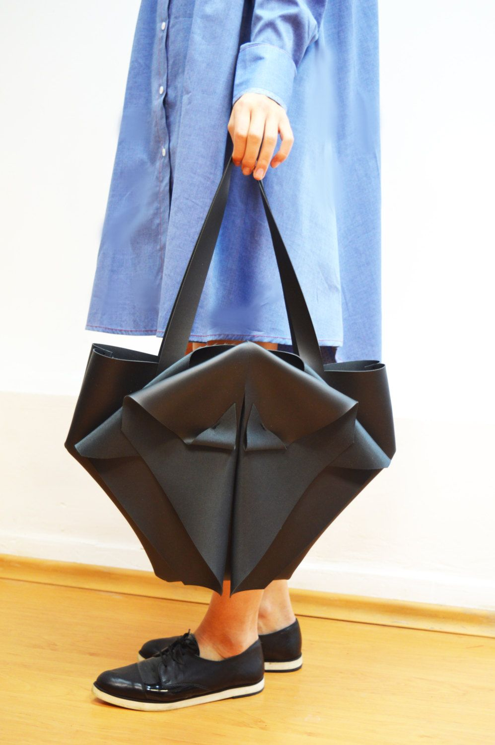 Photo of Medium Origami Bag,Bohemian Faux Leather Bag,Vegan Leather Bag,Handmade,Black Leather Totte,Minimalist Geometric Tote,ATTITUDE157,AT00783