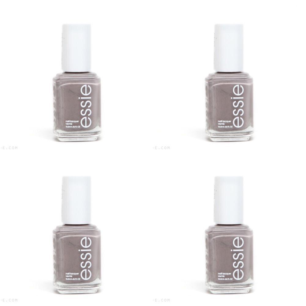 Lot 4 ESSIE CHINCHILLY Nail Polish Polishes Sleek Granite Grey Gray ...