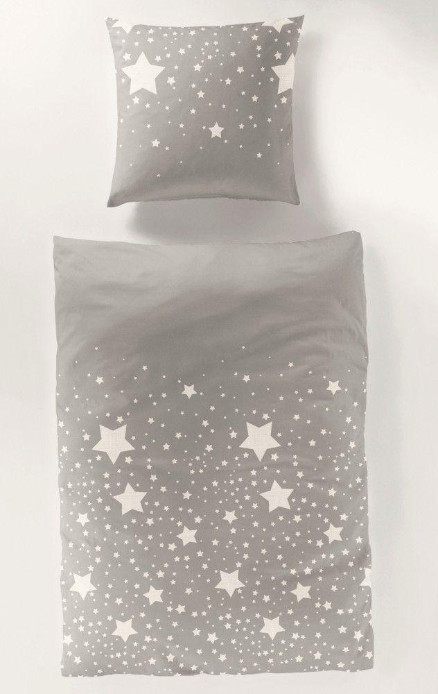 Bierbaum Mako Satin Bettwäsche 135x200cm 2 Tlg. Sterne Rot Weiß / Grau Weiß