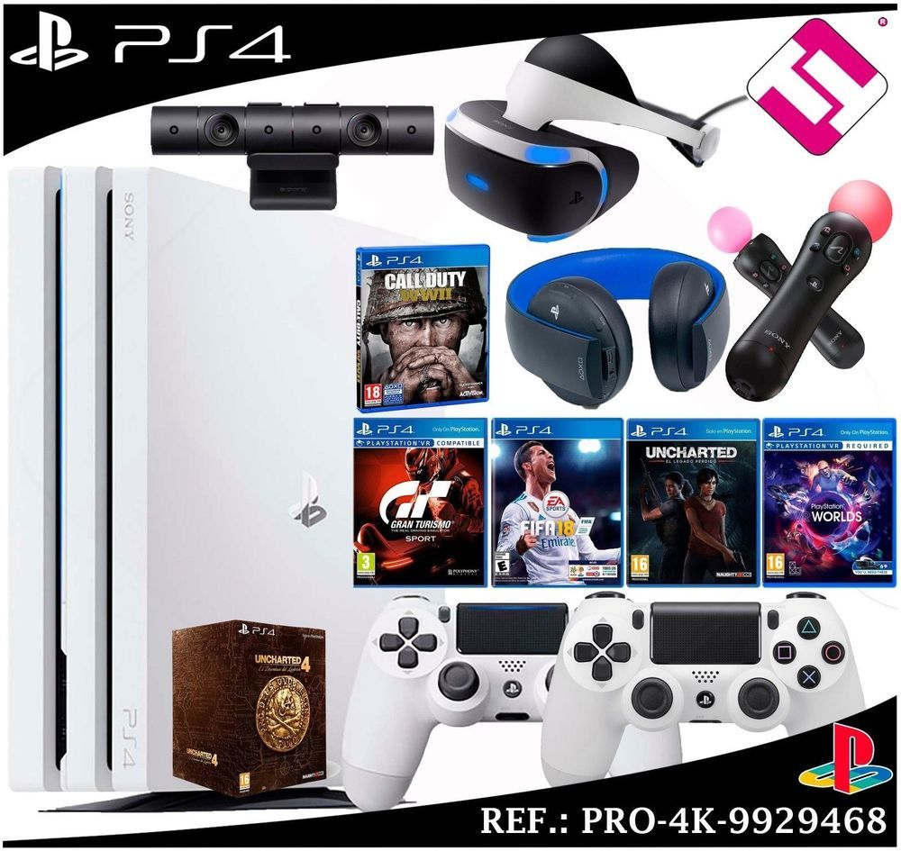 Mega Pack Ps4 Pro 4k 1tb White Camera Glasses Vr Micros Headset Games Spain Ps4 Gaming Video Ps4 Pro White Camera Ps4