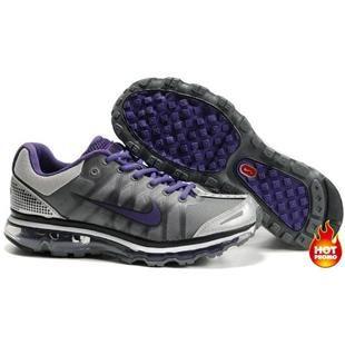 Nike Air Max 2009 Women Mesh Shoes GreyBlackPurple Color