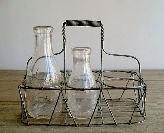 Antique wire metal milk bottle carrier muliti use garden wine rack organizer milk bottles - Wire wine bottle carrier ...