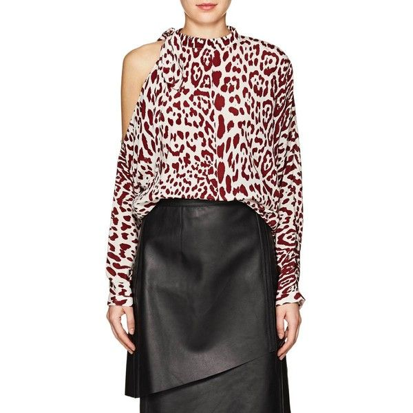 cd11130e8f5961 Robert Rodriguez Women s Leopard-Print Silk Cold-Shoulder Blouse ( 295) ❤  liked