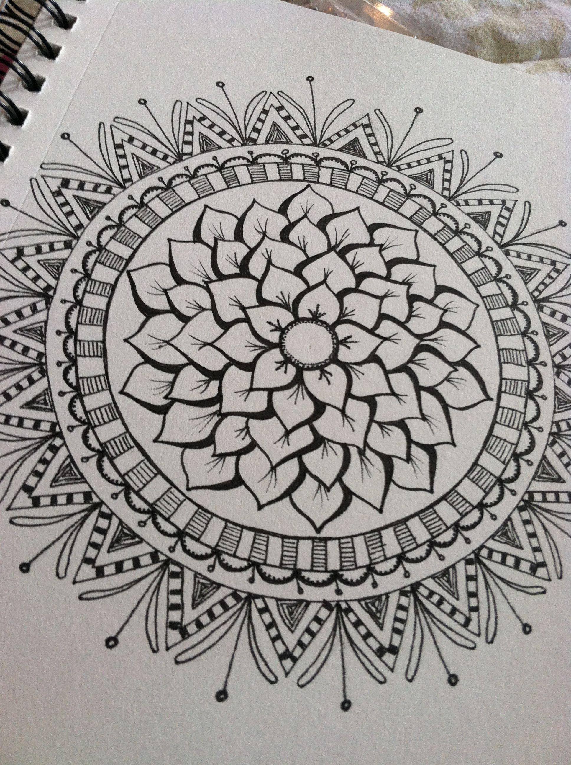 Embellished Flower Beintattoo Bunt Zentangle