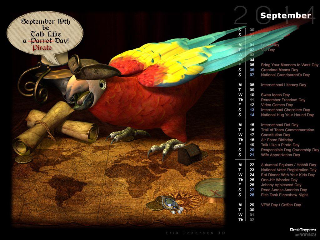 Talk Like A Parrot Day (Rendered) | DeskToppers | Art