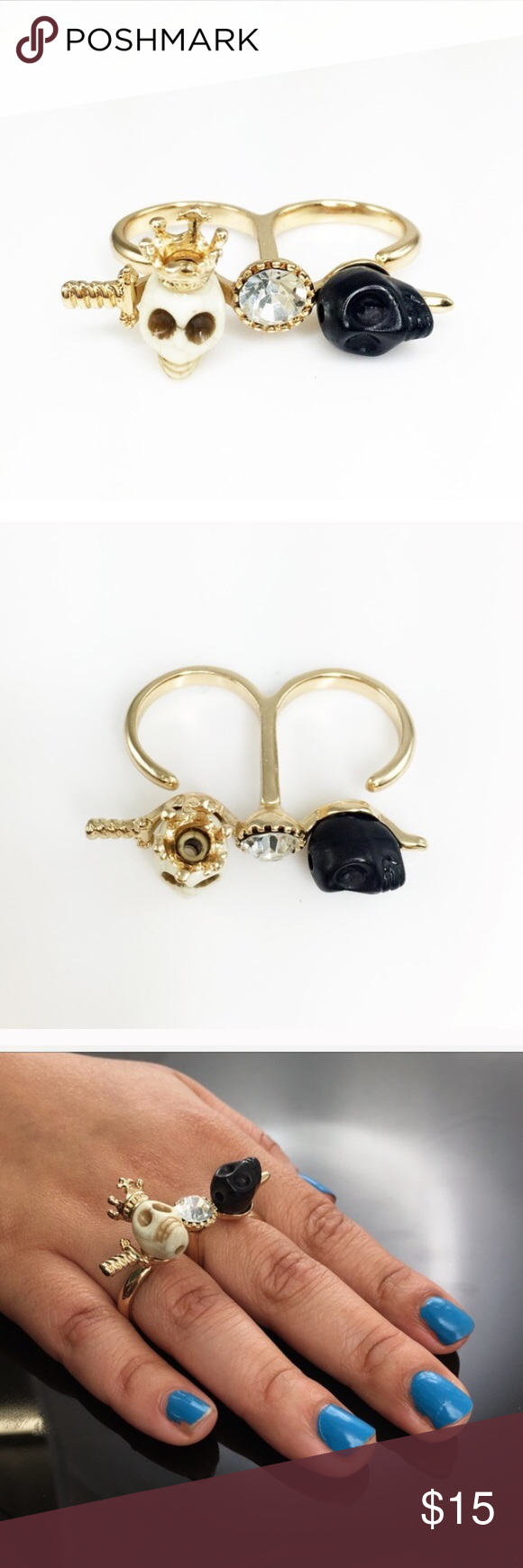 🆕Adia Kibur skull and crystal double ring Pictures by Adia Kibur. Beautiful skull/crystal and sword double ring. Size 7.5/8. Be stylish this halloween with this darling piece. Adia Kibur Jewelry Rings