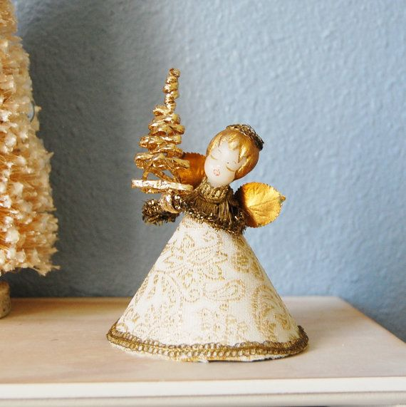 Small Angel Christmas Tree Topper: Wax Angel West German Koestel Tree Topper 1950s Vintage
