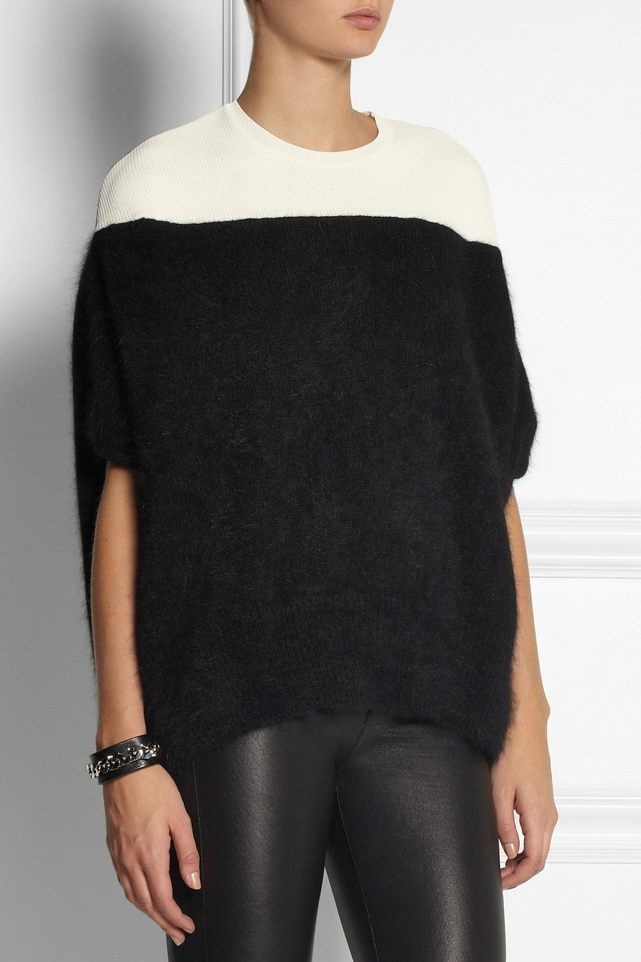 Giambattista Valli|Ribbed-knit and angora-blend top|NET-A-PORTER.COM