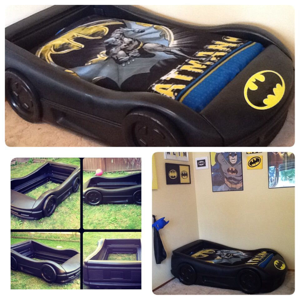 BatMobile bed! We turned a Little tykes blue race car bed